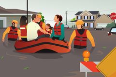 Rescue team helping people during flooding. A vector illustration of rescue team helping people by pushing a boat through a flooded road royalty free illustration