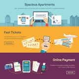 Vector illustration of reserving tickets online Stock Photo