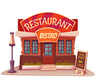 Vector illustration of restaurant and bistro. Building with bright banner Royalty Free Stock Photography