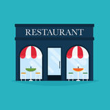 Vector illustration of restaurant building. Facade icons.  Royalty Free Stock Images