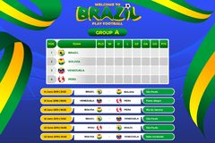 Vector illustration results and standing tables scoreboard championship tournament in Brasil