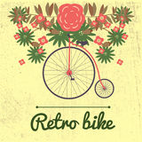 Vector illustration of retro Bicycle on a big wheel Stock Photos