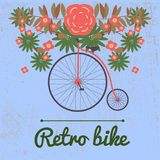 Vector illustration of retro Bicycle on a big wheel  Royalty Free Stock Images