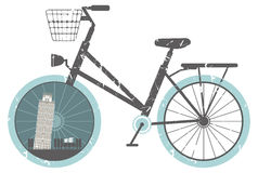 Vector illustration of retro bicycle. For your designs Stock Images