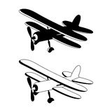 Vector illustration of retro biplane in monochrome Stock Photo
