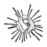 Vector illustration retro black hand drawn Stock Image