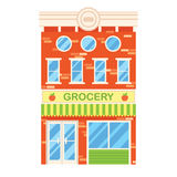 Vector illustration of retro building with grocery shop. Facade Royalty Free Stock Photo