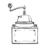 Vector illustration of retro coffee grinder in the thumbnail sty Stock Photography