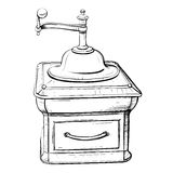 Vector illustration of retro coffee grinder in the thumbnail sty Stock Photos