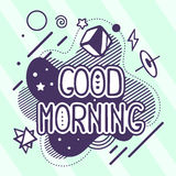 Vector illustration of retro color good morning quote Stock Image