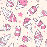 Vector illustration of retro color pattern of pink ice creams  Royalty Free Stock Photography