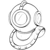 Vector illustration retro diving helmet made in thumbnail style Royalty Free Stock Photography