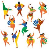 Vector illustration in retro flat style carnival girls, women and men young people. Healthy lifestyle. Set of Brazilian samba danc. Ers, capoeira, drummer Royalty Free Stock Image