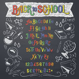 Vector illustration of retro font, capital letters, numbers and symbols in white and color chalk. Vector illustration of retro font, capital letters, numbers and stock illustration