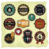 Retro grunge food labels, badges Stock Photo