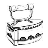Vector illustration of retro iron in the thumbnail style Stock Images