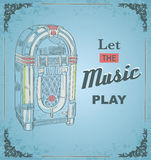 Vector illustration of retro jukebox. Quote Let the music play. Retro and vintage poster. Print for posters Royalty Free Stock Photography
