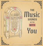 Vector illustration of retro jukebox. Quote The music sound  Royalty Free Stock Image