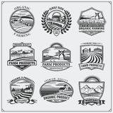 Vector illustration of retro landscapes. Farm fresh food labels, badges, emblems and design elements. Organic and ecology design. Stock Images
