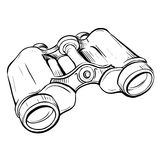 Vector illustration of retro military binoculars in the thumbnai Royalty Free Stock Images