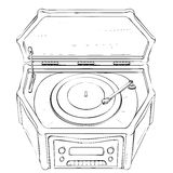 Vector illustration of retro portable gramophone made Royalty Free Stock Photo