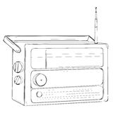 Vector illustration of retro portable radio with antenna made in Stock Photo