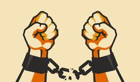 Hands tear chains. Vector illustration retro poster two hands clenched into a fist tearing chains that they shackled the symbol of the revolution of freedom royalty free illustration