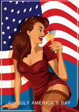 Vector illustration of retro sexy woman holding a glass of champagne with american flag on background, American Independence day. Stock Images