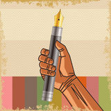 Vector illustration in retro style of a clenched fist held high in Royalty Free Stock Photography