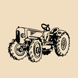 Vector illustration of retro tractor in hand sketched style. Farm fresh logotype. Organic products badge. Eco food sign. Vector illustration of retro tractor in Stock Image