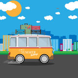 Vector illustration of a retro travel van with nature background Stock Photography