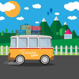 Vector illustration of a retro travel van with nature background Royalty Free Stock Photography