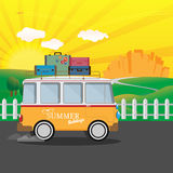 Vector illustration of a retro travel van with nature background Stock Photo