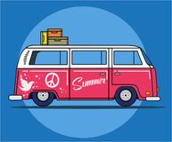 Retro travel van stock illustration