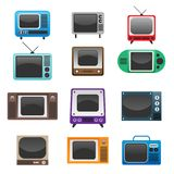 Retro Televisions Set Stock Images