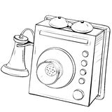 Vector illustration of retro wall phone made in a thumbnail style Royalty Free Stock Photography