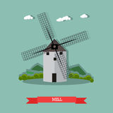 Vector illustration of retro windmill in flat style Stock Image