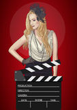 Vector illustration of retro woman with film clapper Stock Photo