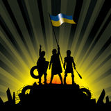 Vector Illustration of Revolution People. Vector illustration silhouettes of revolution people in Ukraine Stock Photography