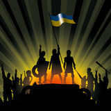 Vector Illustration of Revolution People. Vector illustration silhouettes of revolution people in Ukraine Stock Image