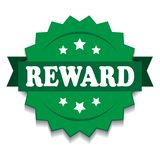 Reward seal. Vector illustration of reward seal green star on isolated white background vector illustration