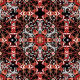 Vector illustration rexture. Ornate vector black and red curly floral circle background in ethnic style Royalty Free Stock Photography
