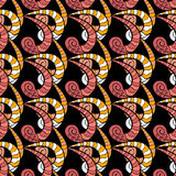 Vector illustration rexture. Red, yellow and white curls ornament on a black background. Seamless background. Spiral seamless pattern Stock Photo
