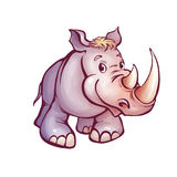 Vector illustration of rhino in cartoon style Royalty Free Stock Photos