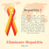 World Hepatitis Day. Colorful awareness ribbons isolated over world map in cartoon style. Vector illustration. Holiday Coll Royalty Free Stock Photo