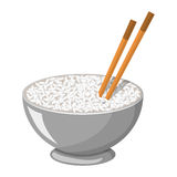 Vector illustration of a Rice Bowl and chopstick Royalty Free Stock Image