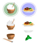 Vector illustration of a Rice Bowl, Chopstick and Pasta Stock Photography