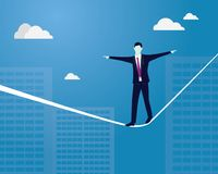 Businessman Walking on Rope. Risk Challenge in Business Concept. Vector illustration. Risk challenge in business concept. Businessman walking on balancing Royalty Free Stock Photos