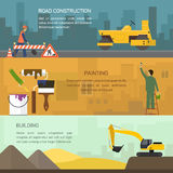 Vector illustration of road construction, painting Royalty Free Stock Photo