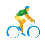 Vector illustration - Road Cycling, cyclist on bicycle. Vector illustration - Road Cycling. Cyclist on bicycle with bright patterns, isolated on white background Stock Photos